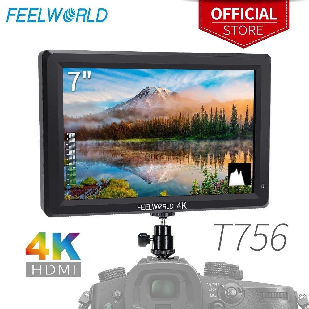FEELWORLD T756 7 Pouces 1920x1200 IPS Sur Caméra moniteur de terrain Soutien 4 K HDMI Entrée Sortie pour DSLR Canon sony Nikon ZHIYUN Cardan