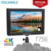 Feelworld T756 7 インチ 1920 × 1200 の ips カメラフィールドモニタサポート 4 hdmi 入力出力デジタル一眼レフキヤノン、ソニー、ニコン zhiyun ジンバル
