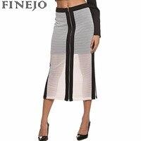 FINEJO חדש נשים ארוכות חצאית חצאיות נשים ישר פיצול שקוף Mesh הולו מתוך Midi חצאיות Feminino Saia slim חצאית S-XXL