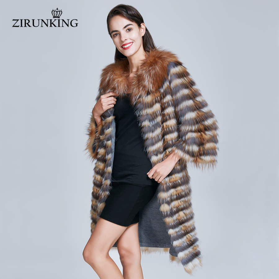 ZIRUNKING Real Fox Fur Coat For Women Natural Silver Fox Overcoats Female Real Fur Outwear Clothes ZC1735