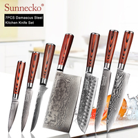 SUNNECKO Damascus Chef Knife Japanese Kitchen Knives Set Sharp Utility Boning Santoku Slicing Paring Knives Pakka Wood Handle