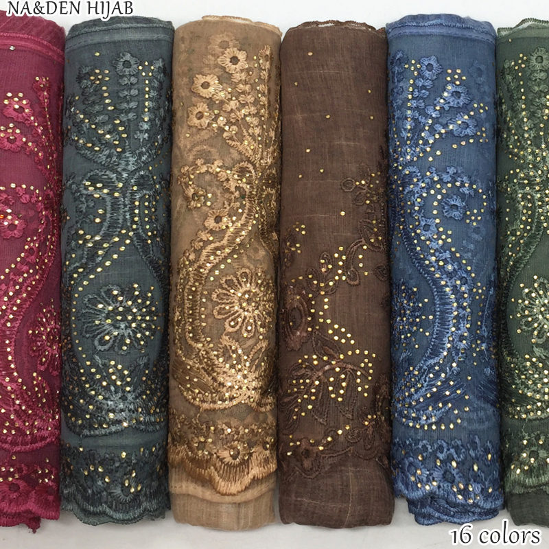 NEW gold rhinestone hijab scarf lace shawl embroidery flower fashion women scarves shawls brand wrap soft