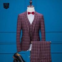 Marka Moda erkek Takım Elbise Pembe Plaid Tarzı Blazers Slim Fit Erkek Smokin Balo Düğün 3 Parça Ceket + Pantolon + yelek