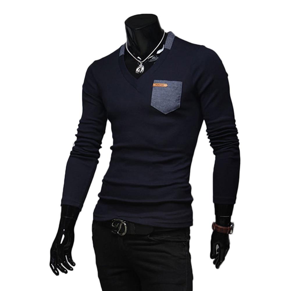 Fashion Men Tops Tees Long Sleeve Solid Color Slim Fit Tshirt Korean