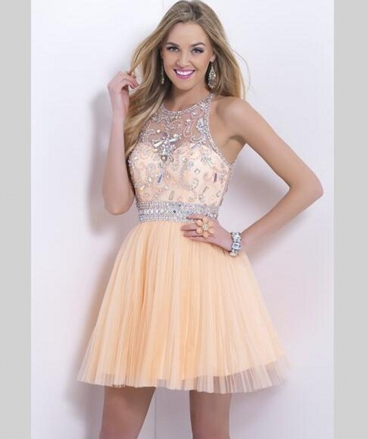 Champagne Short Cocktail Dress 2016 Crystal Beaded Coctail Prom robe de Cocktail Party Dresses vestidos festa curto