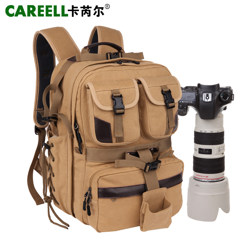 CAREELL 100% cotton canvas digital camera bag professional camera bag slr bag double-shoulder travel backpack benro cool walker series cw 100n double shoulder slr professional camera bag camera bag rain cover