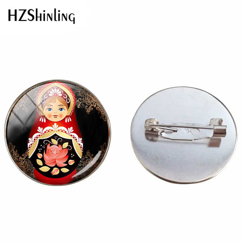 Tradisi Rusia Boneka Kaca Cabochon Bros Matryoshka Buatan Tangan Boneka Rusia Kaca Dome Perak 25 Mm Perhiasan Pin
