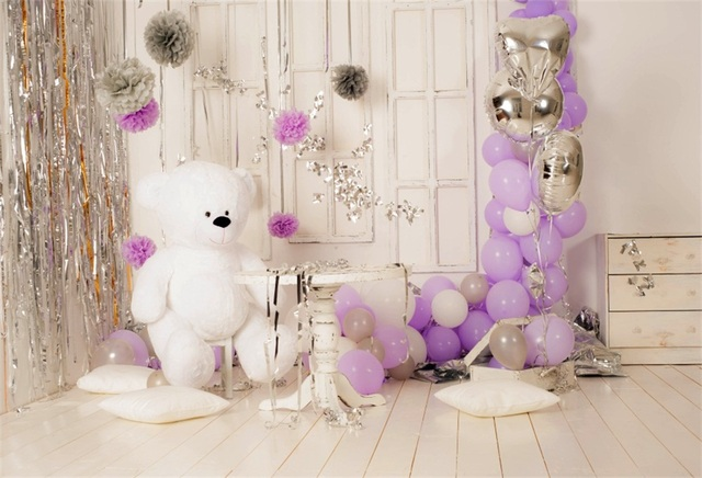 Laeacco Balloons Flowers Plush Teddy Bear Baby Children Birthday Scene Photography Background Photographic Photo Backdrop Studio
