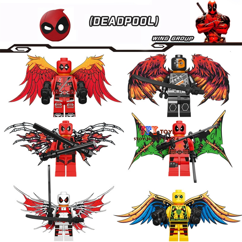 6pcs star wars superhero marvel X-men Deadpool forces weapons Wings building blocks lepin model Baby toys for children juguetes extraordinary x men vol 2 apocalypse wars