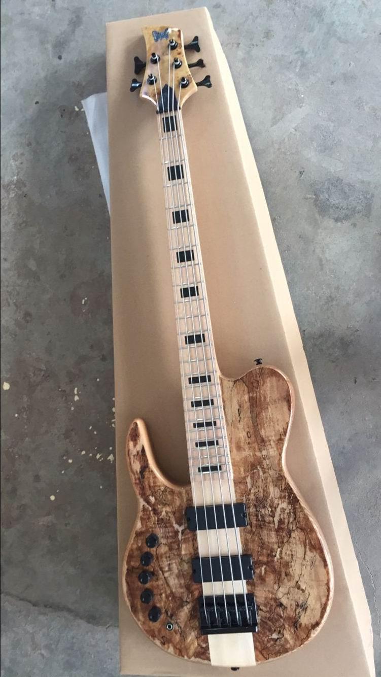 Оптовая продажа бас гитара 5 Строка Электрический бас гитара через шею Одежда высшего качества в натурального дерева 161118