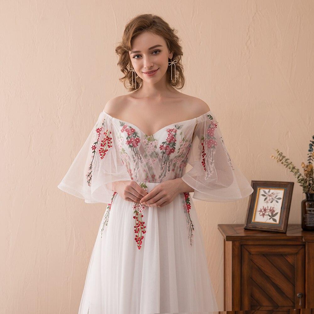 2018 Boho Evening Dresses Off The Shoulder V Neckline Evening Gown ...