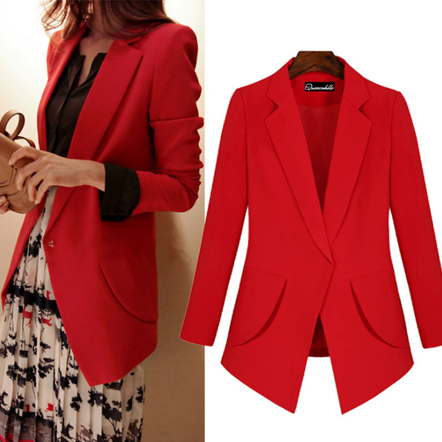 Queechalle Rouge Noir 4XL 5XL Grande Taille Entaillé Blazer Mince Manteau  Femmes Manches Longues Office Lady fc5974e40d3