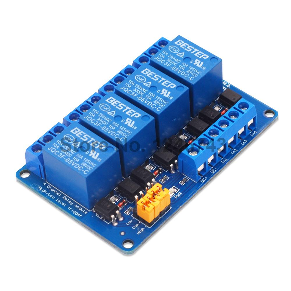 3.3V 5V 12V 24V 4 Channel Relay Module High and low Level Trigger Dual Optocoupler Isolation Relay Module