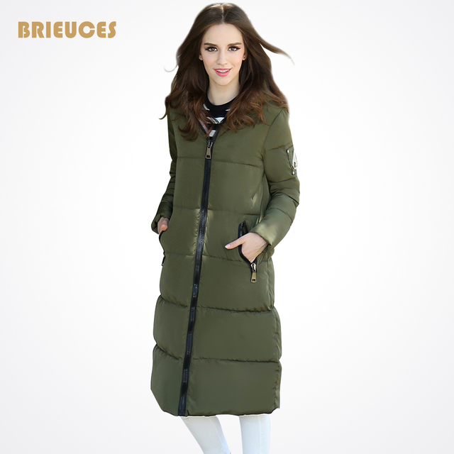 winter jacket women down-cotton slim thickening coat hooded medium-long parka vintage plus size outwear casual overcoat