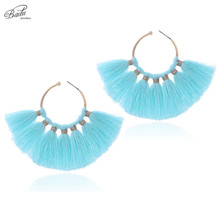 Badu Round Hoop Earring Blue Tassel Statement Earrings for Women Big Gold Color Retro Vintage Beach Jewelry Wholesale