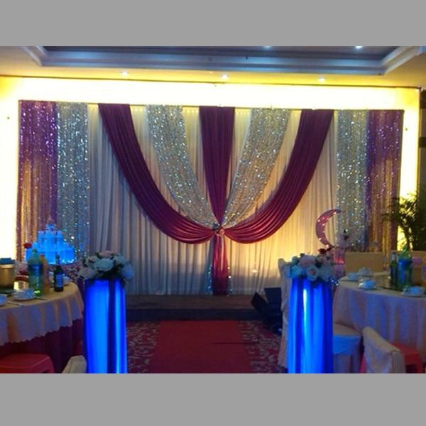 New 3*6m purple silver sequin white wedding backdrop curtain set ...