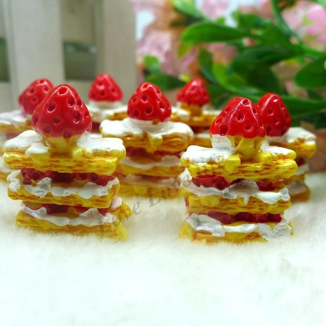 28*10mm Envío Gratis! resina Kawaii Pastel de Fresa, Cabochons de la Resina para la Decoración Del Teléfono DIY