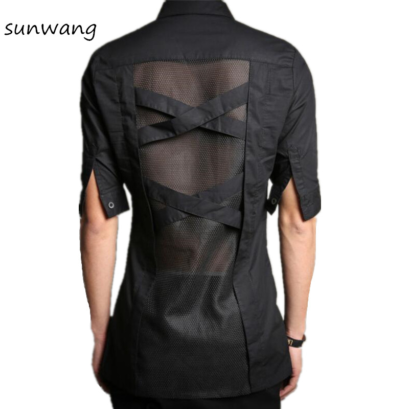 2017 harajuku gothic clothing fashion casual sexy mens see for Mens dress shirts fitted