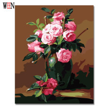 Flower Painting By Numbers DIY HandPainted Rose Modern Wall Canvas Art Picture For Living Room Home Artwork By numbers 2017 modern style diy oil painting by numbers wall art painting by numbers rose flower for living room decor