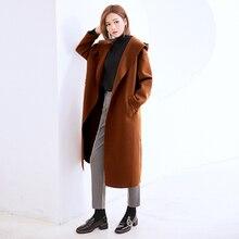 [GUTU] 2017 Autumn Winter New Korean Tide Solid Color Long Sleeve Hooded Collar Cardigan Overknee Fashion Coat Woman EA40004(China)