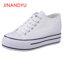 2018 New Muffin Heavy-bottomed Shallow Mouth of Canvas Wedges Shoes for Women Casual Lace Up Student Flat Bottom