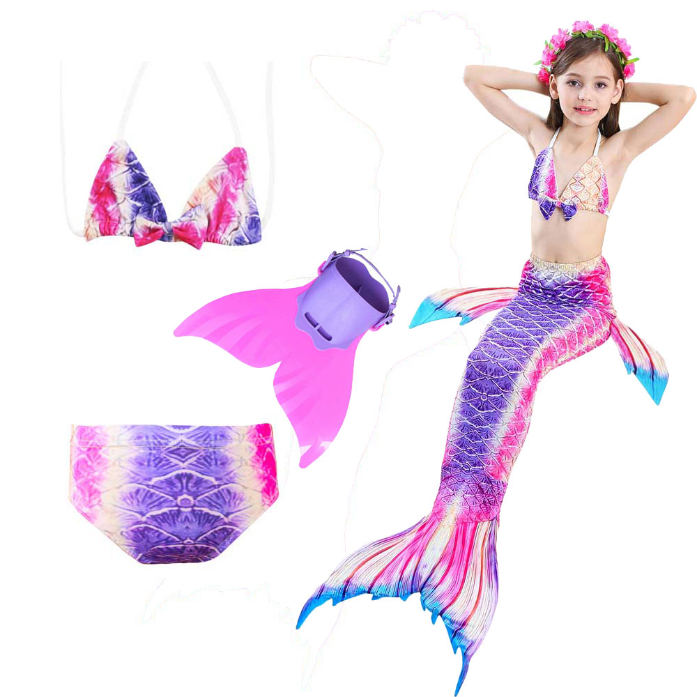 4 Piece Mermaid Tail For Swimming Swimsuit For Girls With Removable Fin Children Mermaid Tail With Monofin