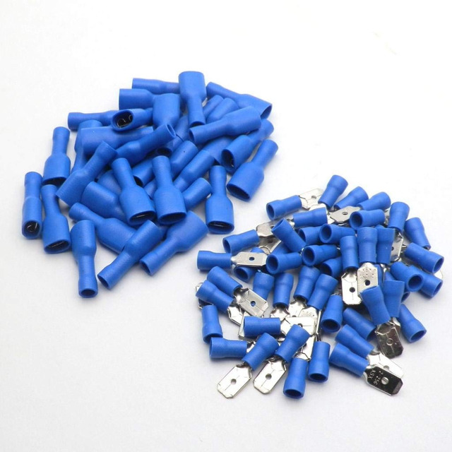 100pcs FDD 1.25-250 MDD 6.3mm Red Blue Female + Male Spade Insulated Electrical Crimp Terminal Connectors Wiring Cable Plug