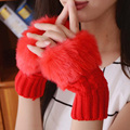 Mulheres da moda Senhora Luvas Wrist Warmer Luvas Sem Dedos Malha Luvas Mitten Inverno Sexy Menina Presente ST-0104