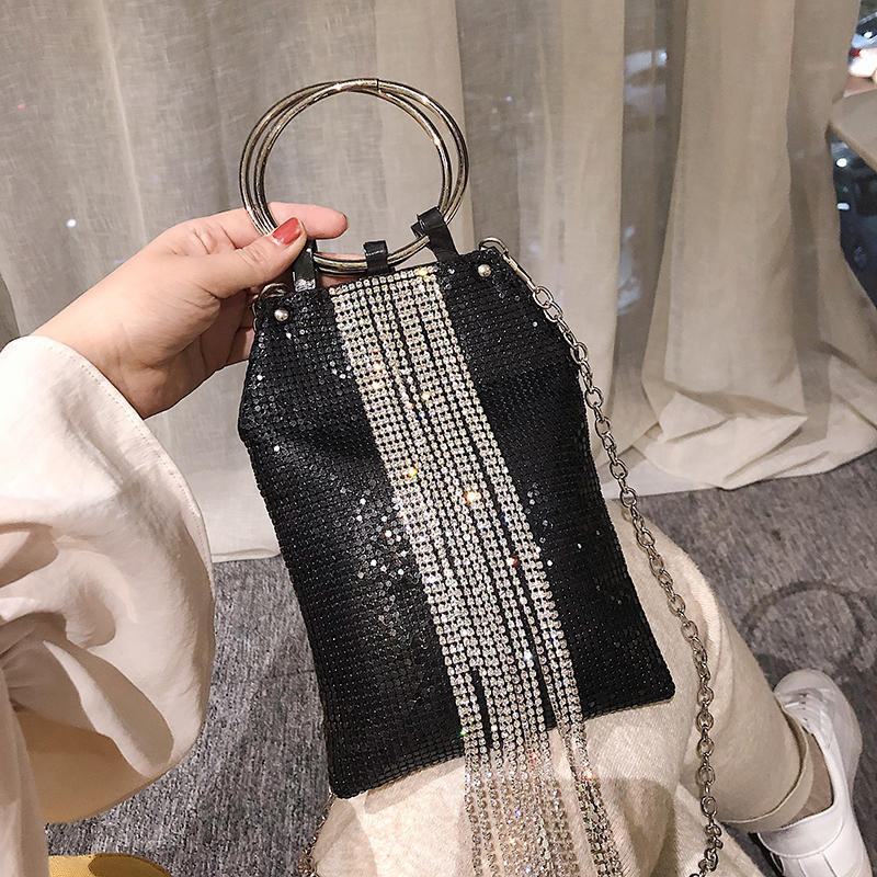 Diamond Tassel Handbag Golden Silver Black Color Sequin Women Clutch Evening Bag Ladies Chain Shoulder Sac Phone Purse Party Bag