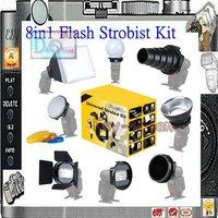 New 8 in 1 Universal Camera Flash Strobist Set flashgun Accessory Kit Adapter Softbox Diffuser for Speedlite YN568 580EX 600EX