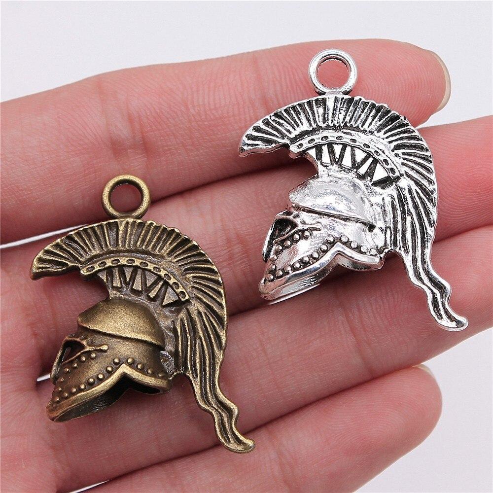 Silver SPARTAN HELMET CHARM 3D Roman Soldier PENDANT *NEW*