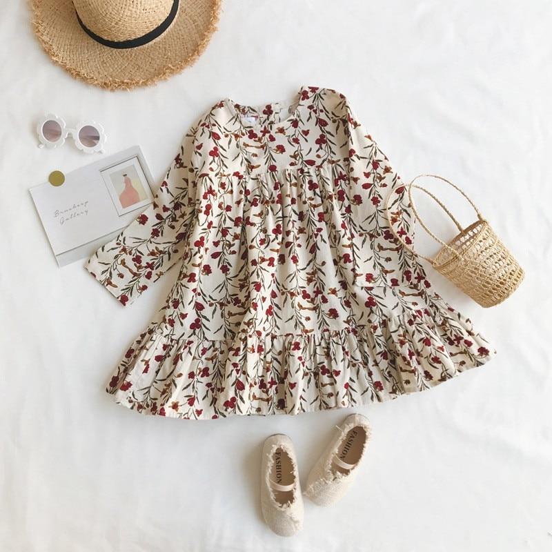 New 2019 Children Autumn Clothing Girl dress Flower Slim Corduroy Dress Baby Korean Dresses Clothes G013