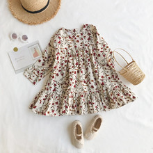 New 2019 Children Autumn Clothing Girl dress Flower Slim Corduroy Dress Baby Korean Dresses Clothes G013