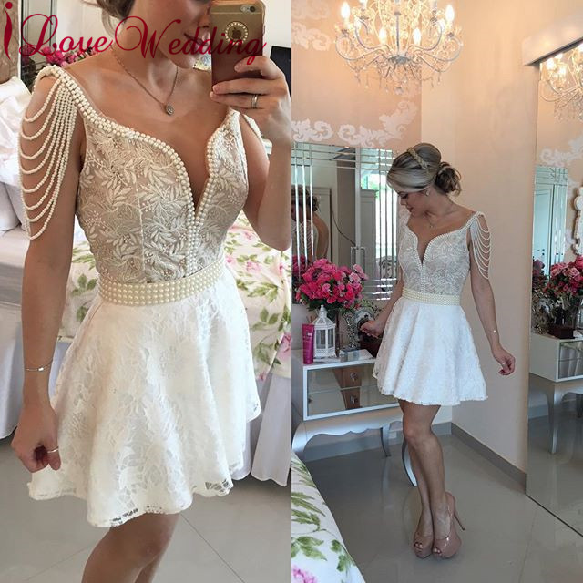 New Fashion 2019 A Line   Cocktail     Dress   Lace Applique Pearl Beaded Pearl Sleeves   Cocktail     Dress   Party