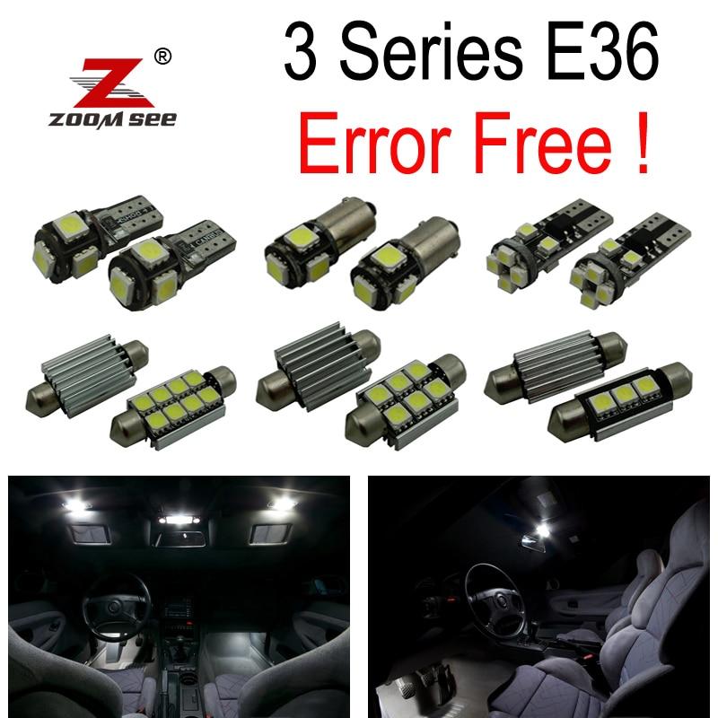 15pcs Error free LED Interior Light Kit for bmw 3 series E36 Sedan coupe M3 318i 318is 323i 323is 325i 325is 328i 328is (92-98)
