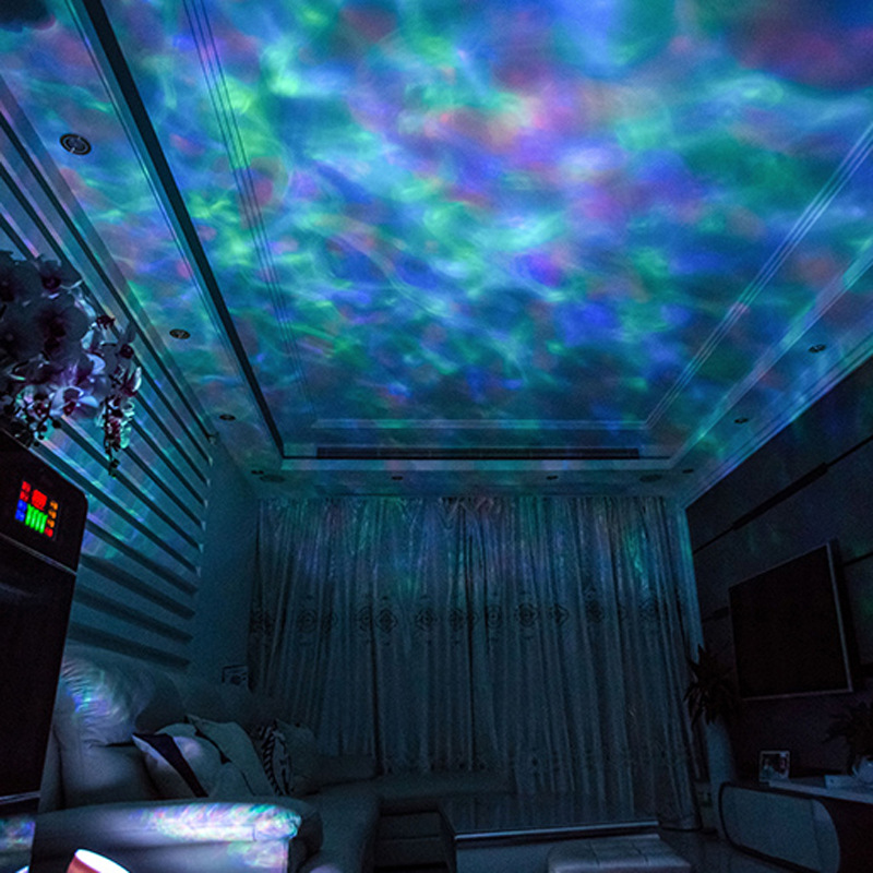 Novelty LED Ocean Wave Star Projector Night Light With Sound Table Lamp Romantic Birthday Gift Ocean Wave Light luminaria
