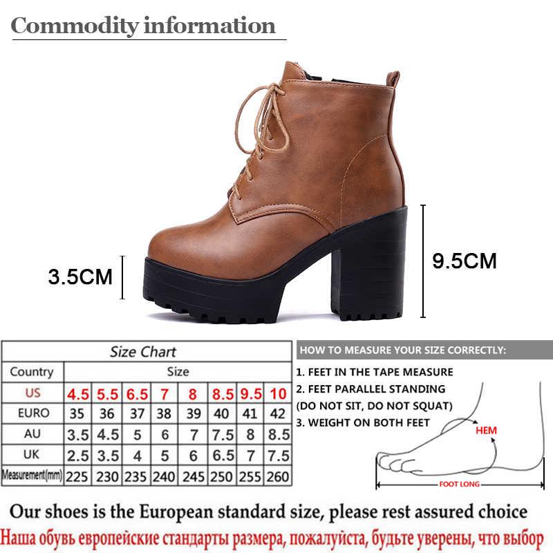 Gdgydh Bağlama Kadın yarım çizmeler Yuvarlak Ayak Kadın Yüksek Topuklu Platform Patik Ayakkabı Bahar kısa çizmeler Bayan Ayakkabı 2018 Sonbahar