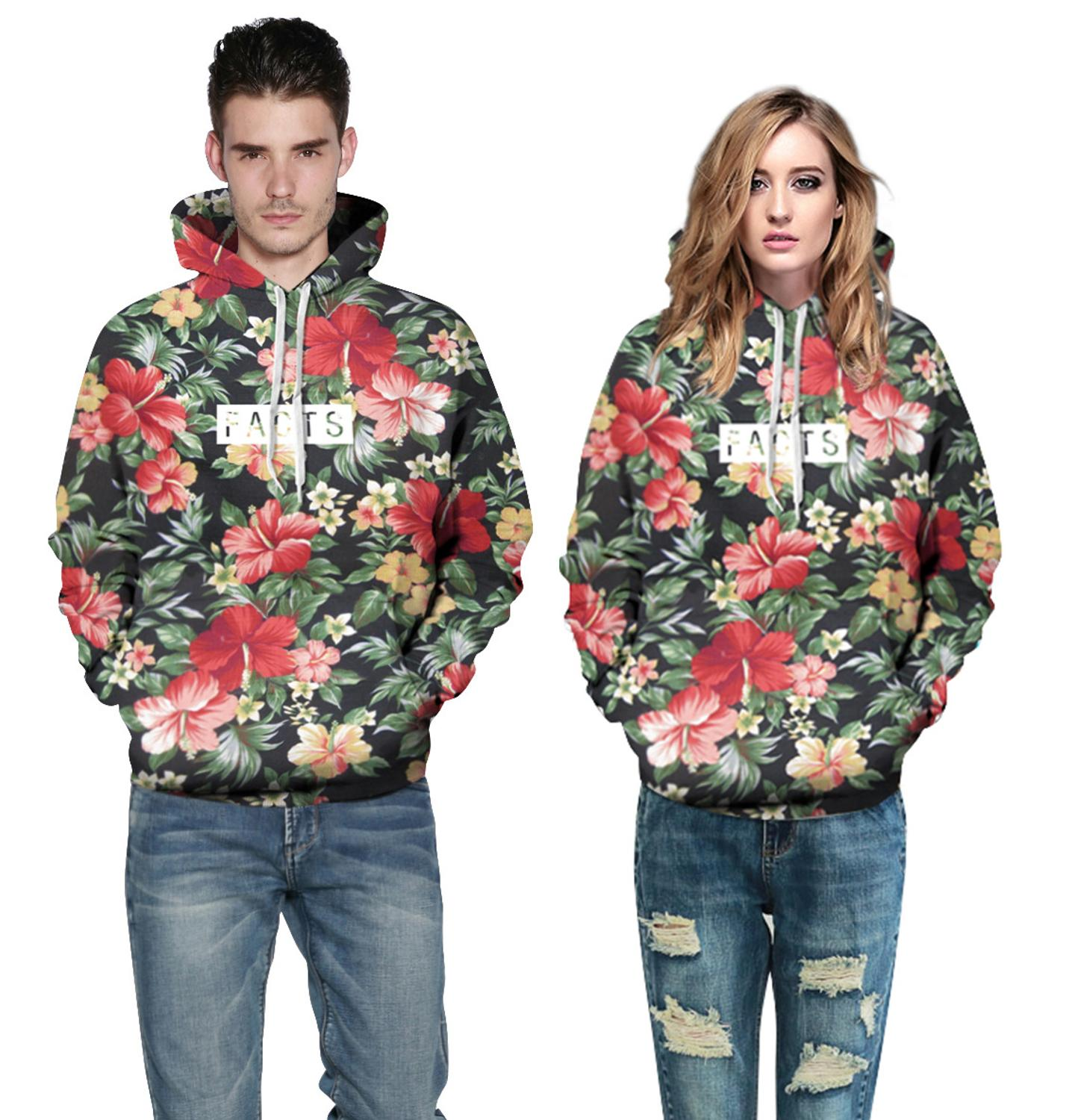 Floral Hoodies Women/Men Fashion 3D Print Hooded Sweats Tops Sweatshirt Harajuku Pullover Homme Couple Lovers Clothing