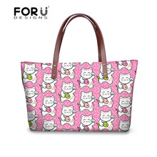 afa27f989f FORUDESIGNS Female Top-handle Bags Lucky Cat Maneki Neko Printied Shoulder  Bags for Women 2018