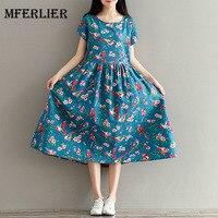 Women Dress Mori Girl Short Sleeve Floral Print A Line Dress Blue Color High Waist O