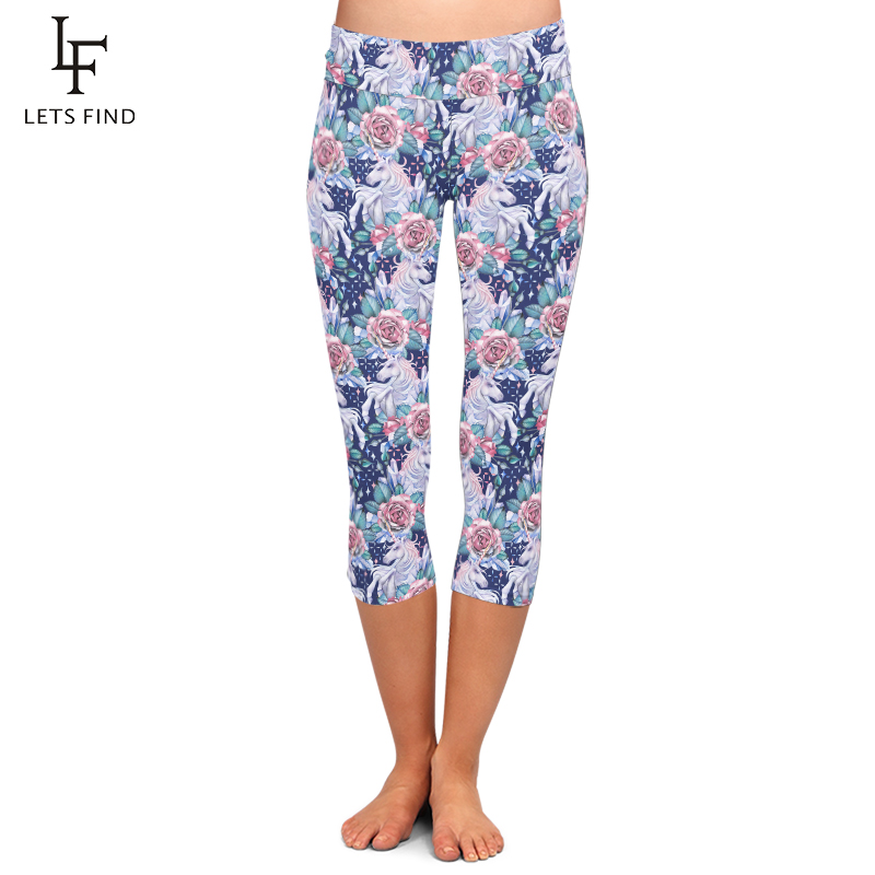High Quality Unicorn and Crystal Flowers Printing Capri Leggings High Waisted Lady's Fitness Leggings Mid-Calf 3/4 Summer New