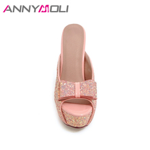 ANNYMOLI Women Sandals Extreme High Heels Women Slipper Platform Bow Ladies Party Shoes Open Toe Thin Heels Silver Shoes Size 43