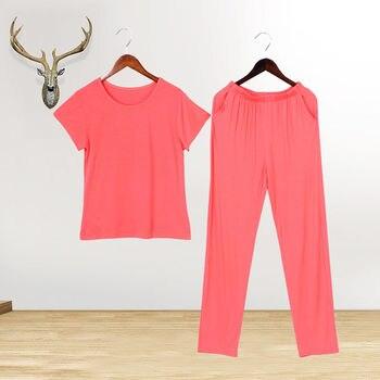 Modal Cool Pajamas Set Summer 2Piece/Set Sexy Mom Solid Female Thin Pyjama Cotton Stitch Big Size Pjs Home Sleepwear - discount item  44% OFF Women's Sleep & Lounge