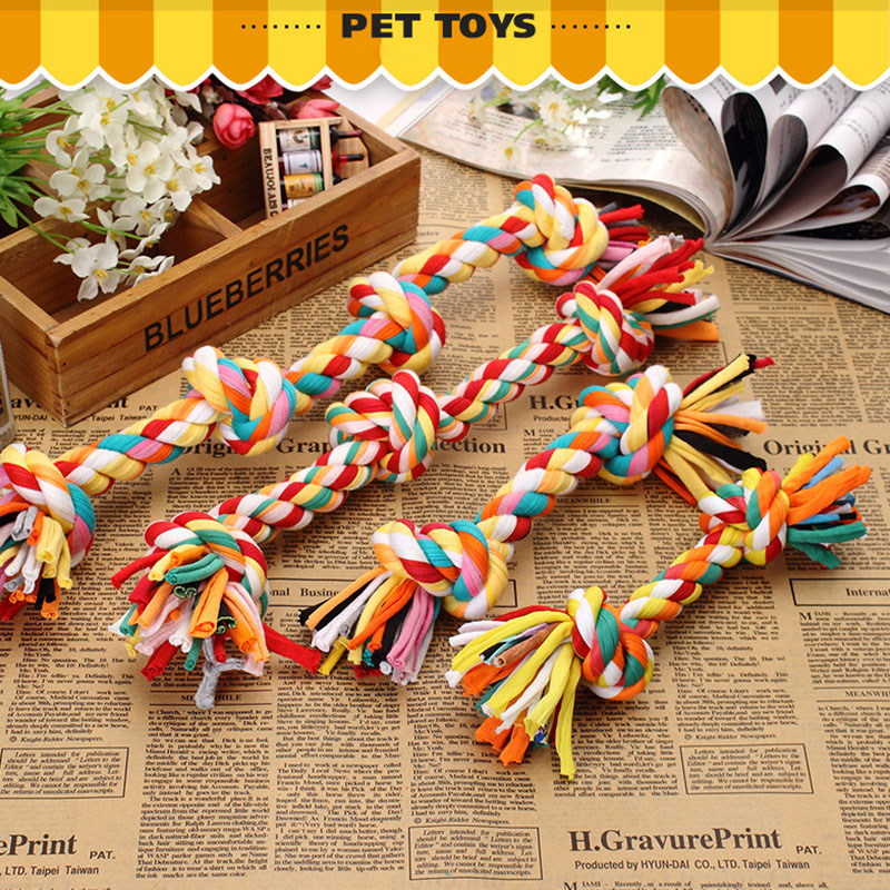 Dog Chewing On Rugs: Rope Dog Toy Multicolor For Dog Double Knot Cotton Rope