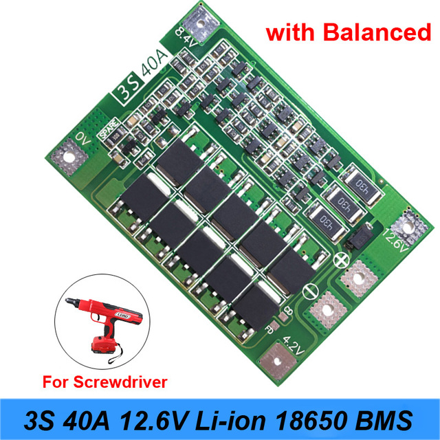 3S 40A For Screwdriver 12V Li-Ion 18650 Bms Pcm Battery Protection Board Bms Pcm With Balance Liion Battery Cell Pack Module 3