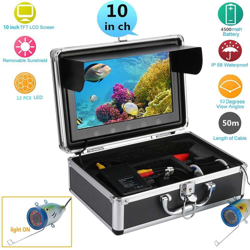 GAMWATER 10 Inch Color Monitor 50M HD 1000tvl Underwater Fishing Video Camera Kit 12 PCS Infrared