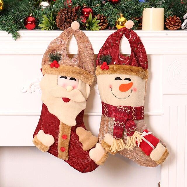high quality christmas stockings gift bags canvas xmas stocking decorative socks - Xmas Stockings