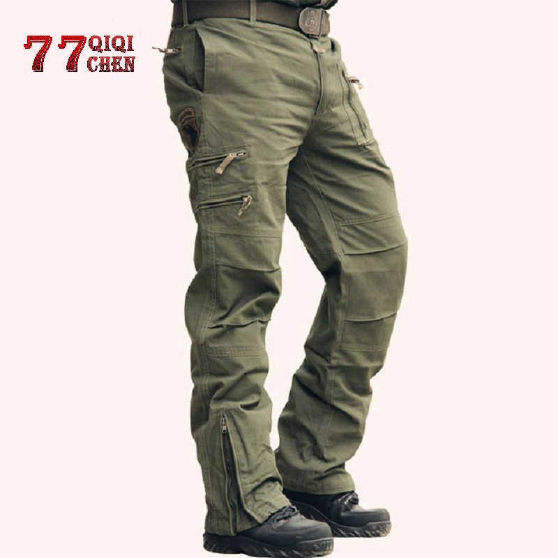 ทหารยุทธวิธีกางเกง Cargo กางเกง Army Camo Jogger Plus ขนาดกางเกงผ้าฝ้าย hombre หลายกระเป๋าซิปสีดำกางเกง