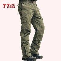 Military Tactical Pants Men's Cargo Pants Army Camo Jogger Plus Size Cotton Trousers hombre Multi pocket Zipper Black Trousers