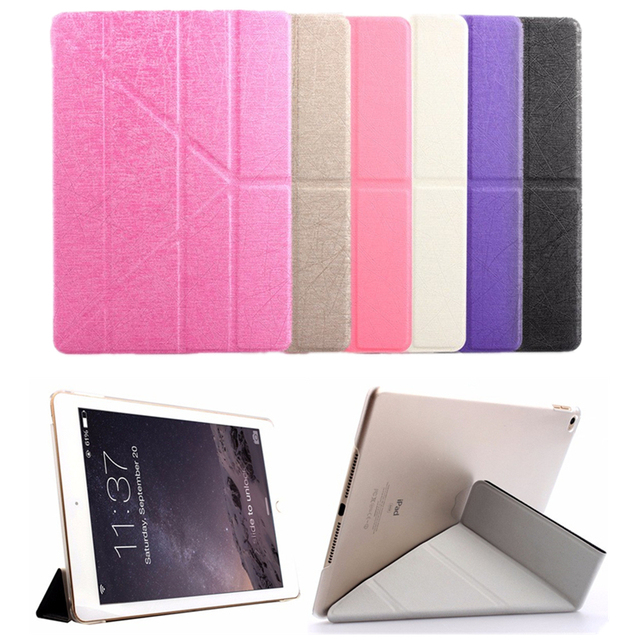 Silk Pattern Case For Apple iPad Air 2 9.7 inch Tablet Multi Fold Flip Smart Cover For iPad 6 Wirh Stand Holder